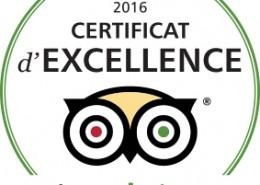 certificat d'excellence 2016 Tripadvisor.com